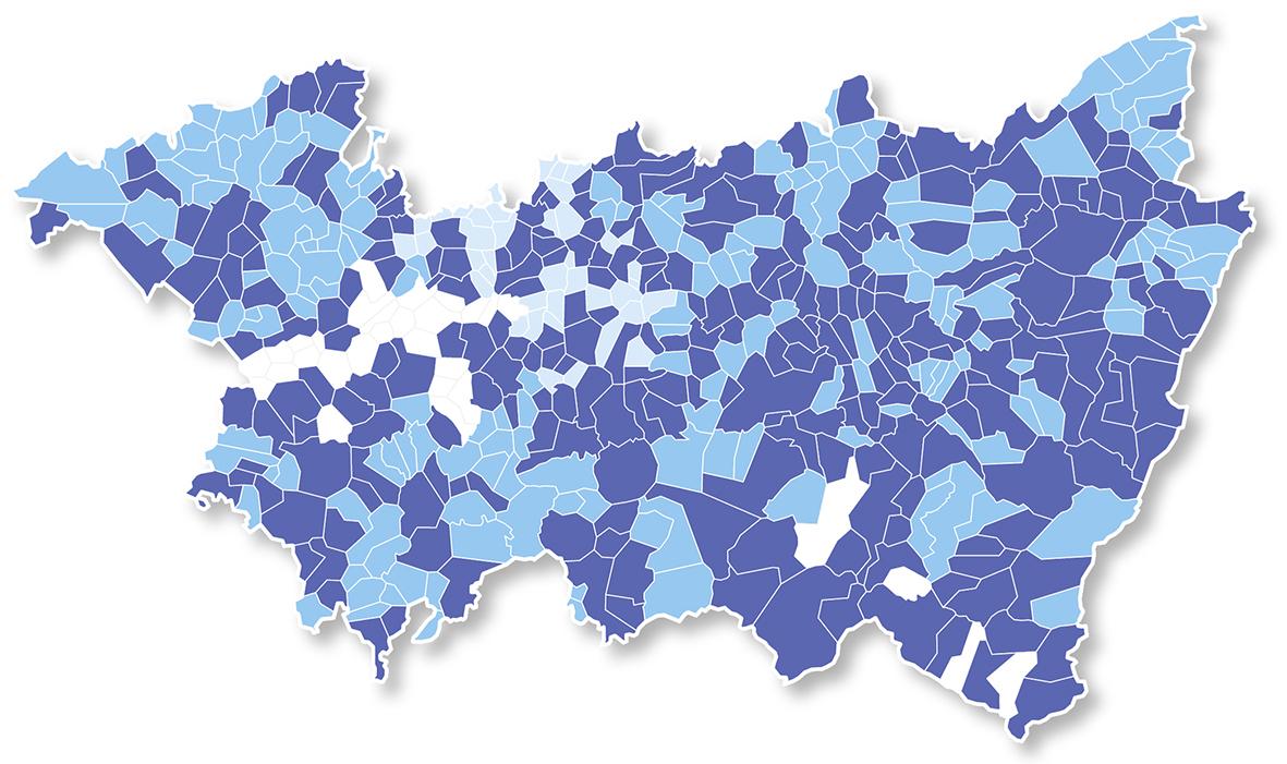 Carte des collectivités adhérentes du CAUE des Vosges en 2017